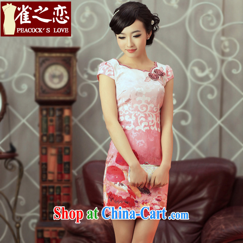 Birds of the land in accordance with city spent around 2015 spring new stylish and improved short-day cheongsam dress pink S