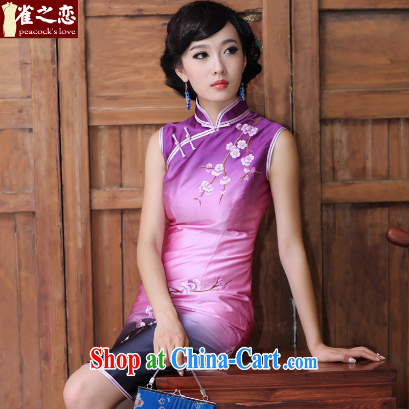 Bird lovers of daily classical manual and embroidery cheongsam short Silk Cheongsam dress QD 188 figure XXXL