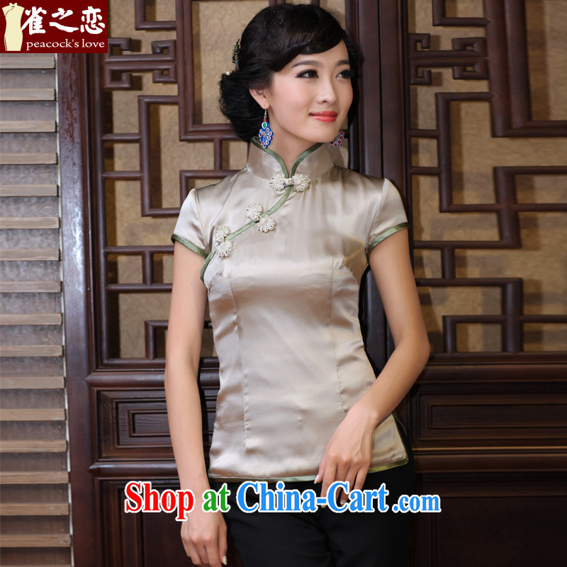 One of such land concept heart 2015 spring New Solid Color 100% silk short cheongsam shirt QD 316 figure L
