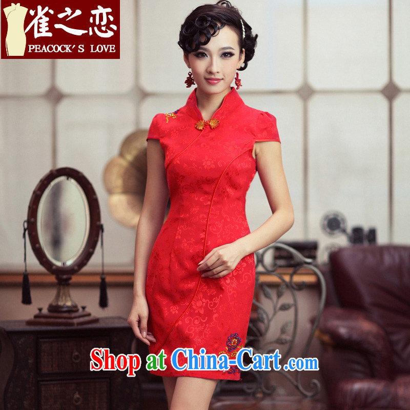 Bird lovers of marriages cheongsam stylish set drill red improved cheongsam dress QD 190 red XXXL