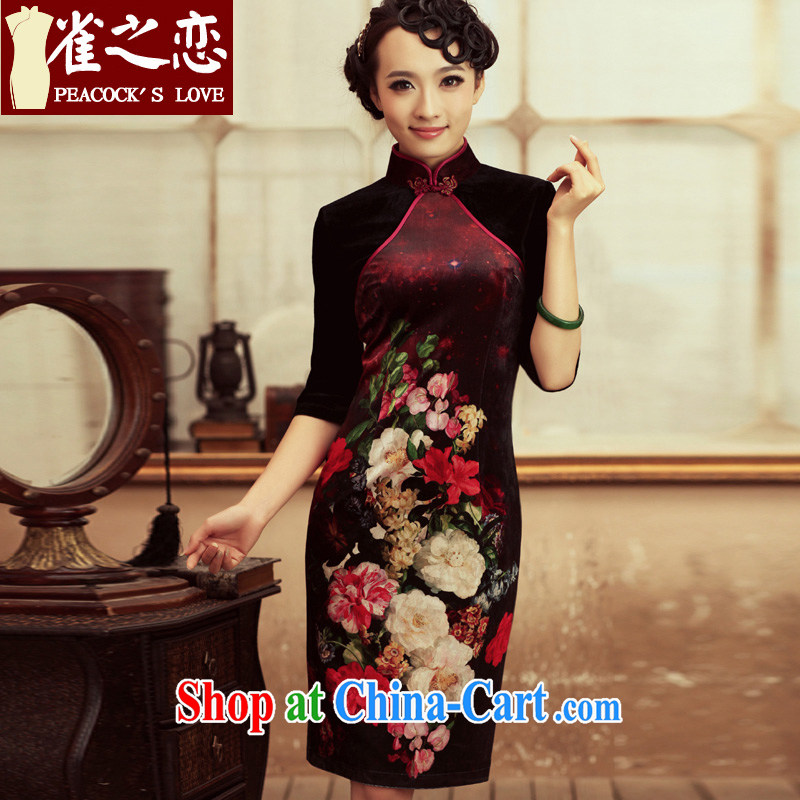 Birds love life is not Marshall 2015 spring new retro cuff in improved velvet cheongsam stylish long cheongsam dress XXL