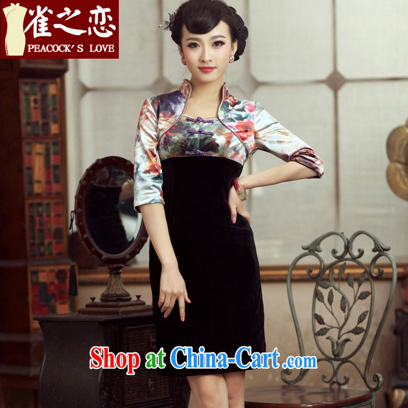 Bird lovers of the Athena trailers spring 2015, new stitching improved fashion cheongsam dress in velvet cuff cheongsam QC 232 fancy XXL