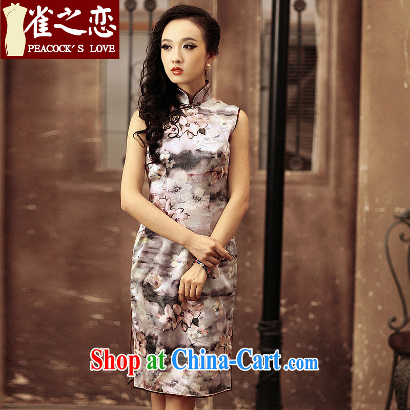 Bird lovers of good quality 100% silk cultivation improved cheongsam dress sleeveless daily short cheongsam QD 184 figure XXL