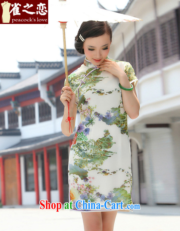 Bird lovers of exceptional and diverse Lightweight breathable and stylish short improved cheongsam QD 032 fancy L
