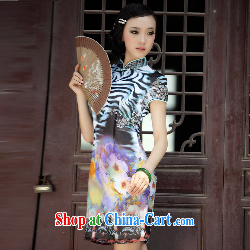 Bird lovers of wind snow Chinese improved short-sleeved qipao QD 036 fancy XXL