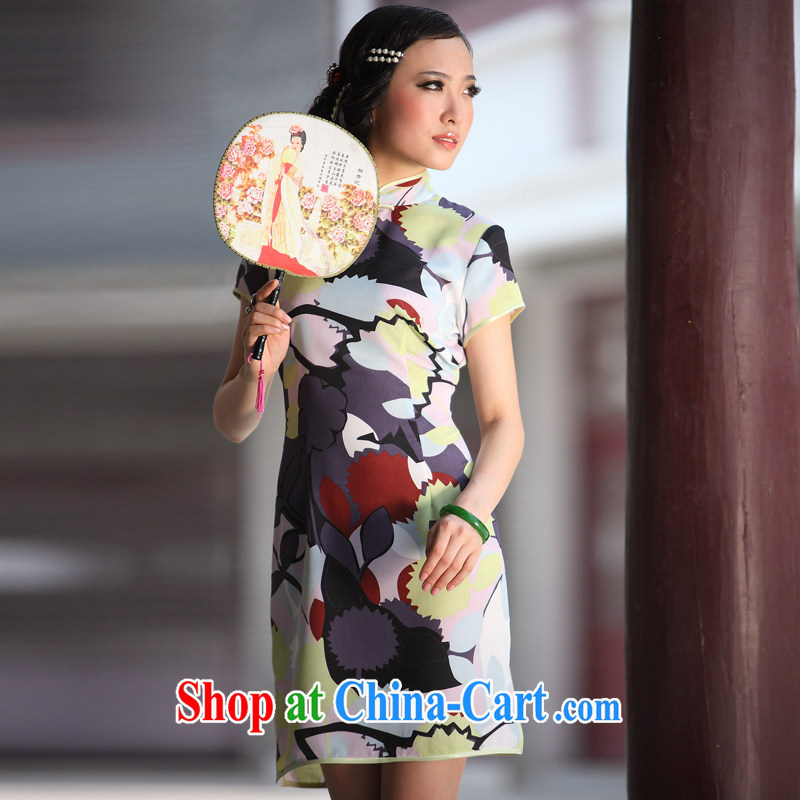 One of such land is, colorful and stylish beauty improved short cheongsam QD 006 figure XL
