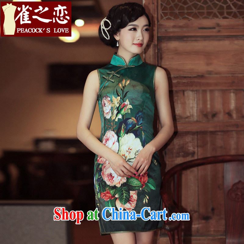 Birds love the Summer 2015 spring new upscale silk positioning take a sleeveless dresses retro QD 301 dark green XL - pre-sale 15 days