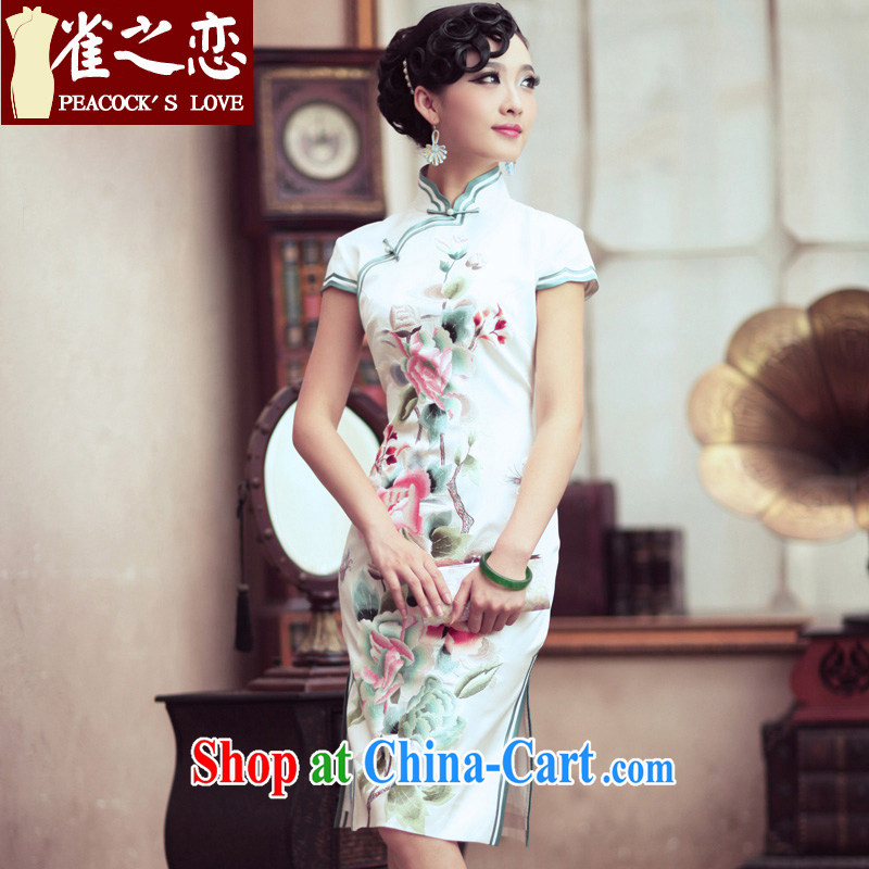 Bird lovers of spreading branches of germ 100% heavy silk retro dresses embroidery short cheongsam dress QD 195 White - pre-sale 7 days M