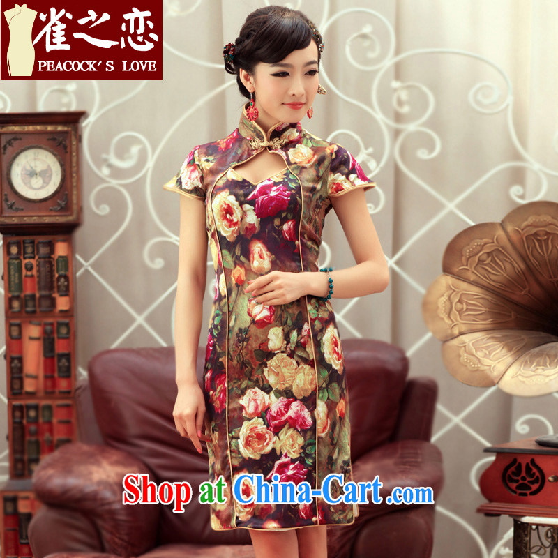 Birds love a river 2015 spring new improved stylish dresses short Silk Cheongsam dress QD 239 fancy XL