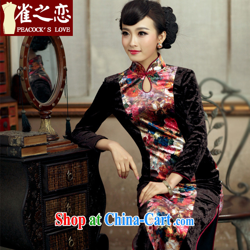 Bird lovers of flowers new makeup spring 2015, new, improved retro style long velvet cheongsam dress QC 228 fancy L