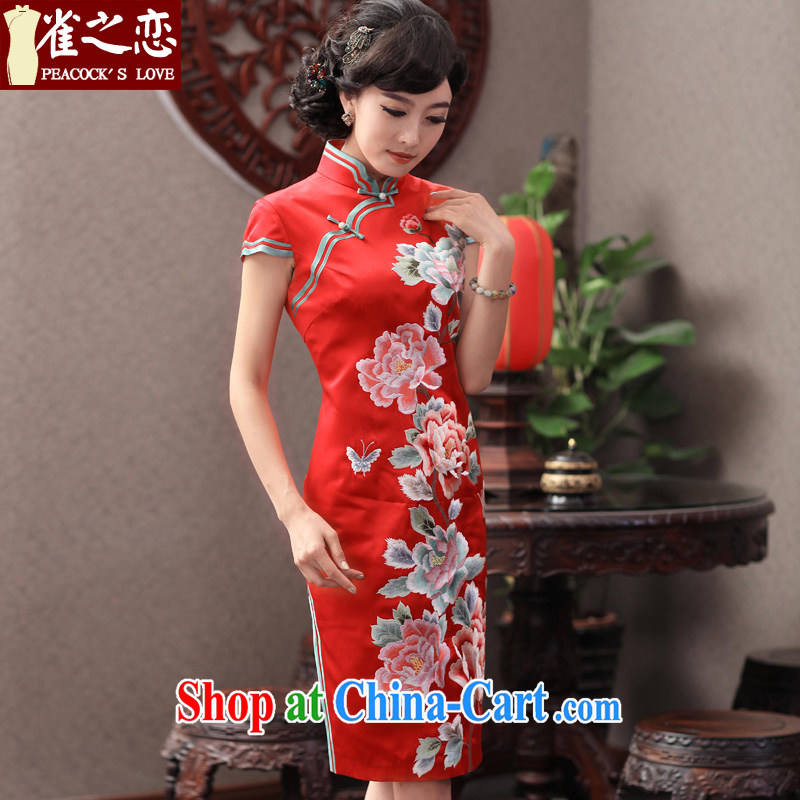 Birds of the land question mirror 2015 spring new retro elegant heavy Silk Cheongsam wedding dresses QD 353 red XXL