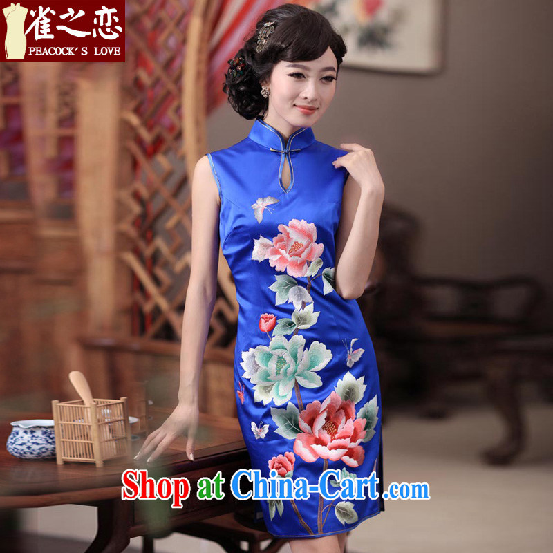 Birds love Dan embroidery 2015 spring new elegant hand embroidered heavy Silk Cheongsam QD 344 blue XL