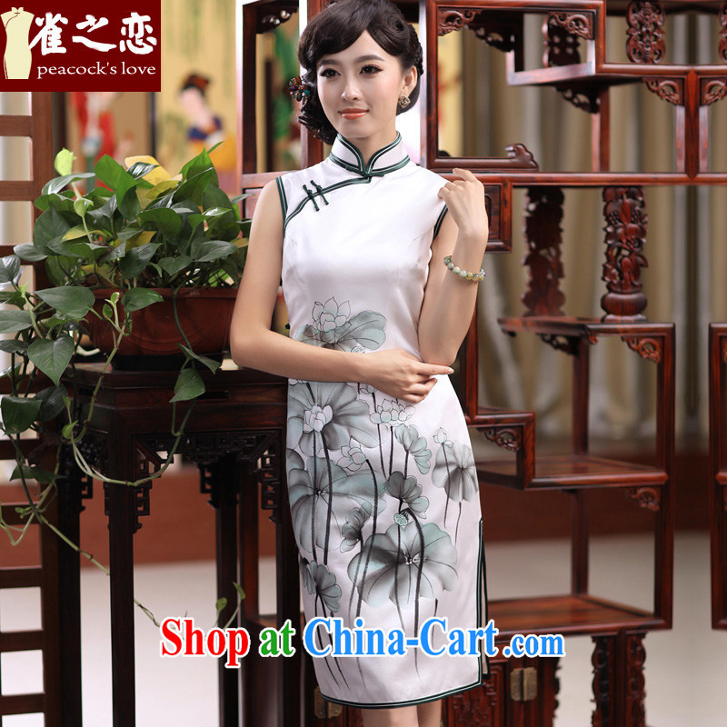 One of bird lovers who accompanied by graces 2015 spring new hand-painted Lotus is a tight heavy Silk Cheongsam QD 355 figure L