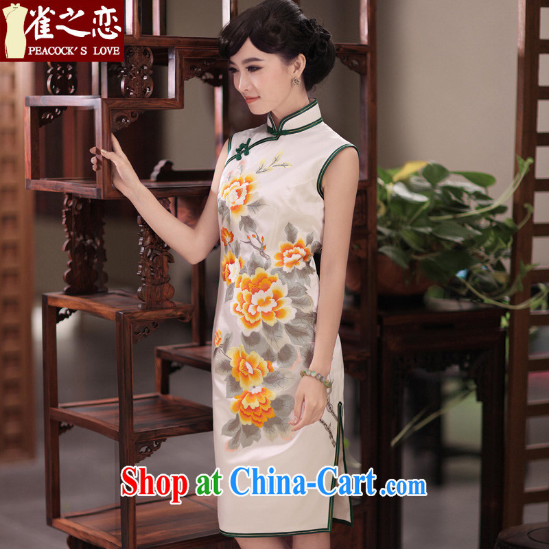 Bird lovers of red paint and 2015 spring new manual and embroidered heavy Silk Cheongsam QD 349 figure L