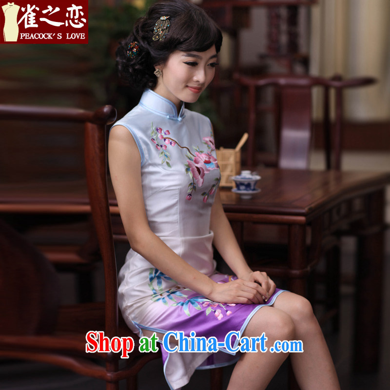 Bird lovers of Seongnam past 2015 spring new stylish and improved manually Push embroidered heavy Silk Cheongsam QD 356 figure S