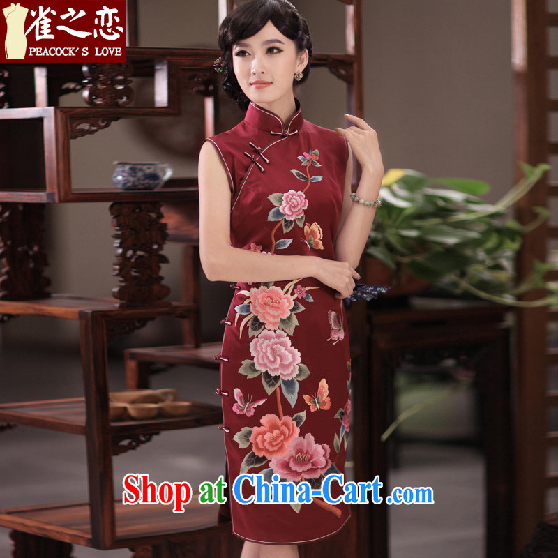 Birds of her love letter spring 2015 THE NEW classic style hand embroidery and heavy Silk Cheongsam QD 350 wine red L