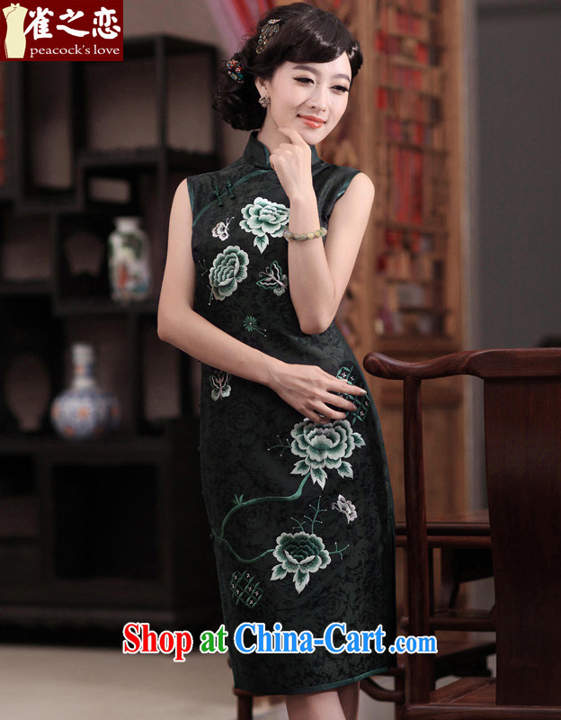 Birds love the love 2015 spring new sleeveless manually Push embroidered heavy Silk Cheongsam QD 354 figure L