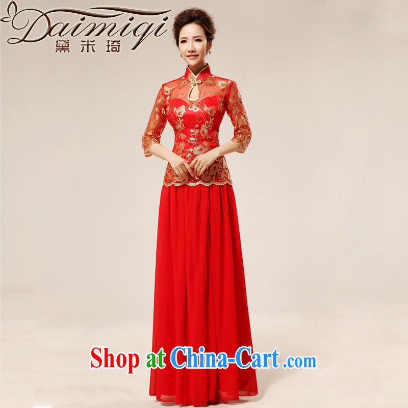 Diane M Ki New red retro sexy lace bridal wedding dresses stylish upgraded cuff toast qipao cheongsam red XXL