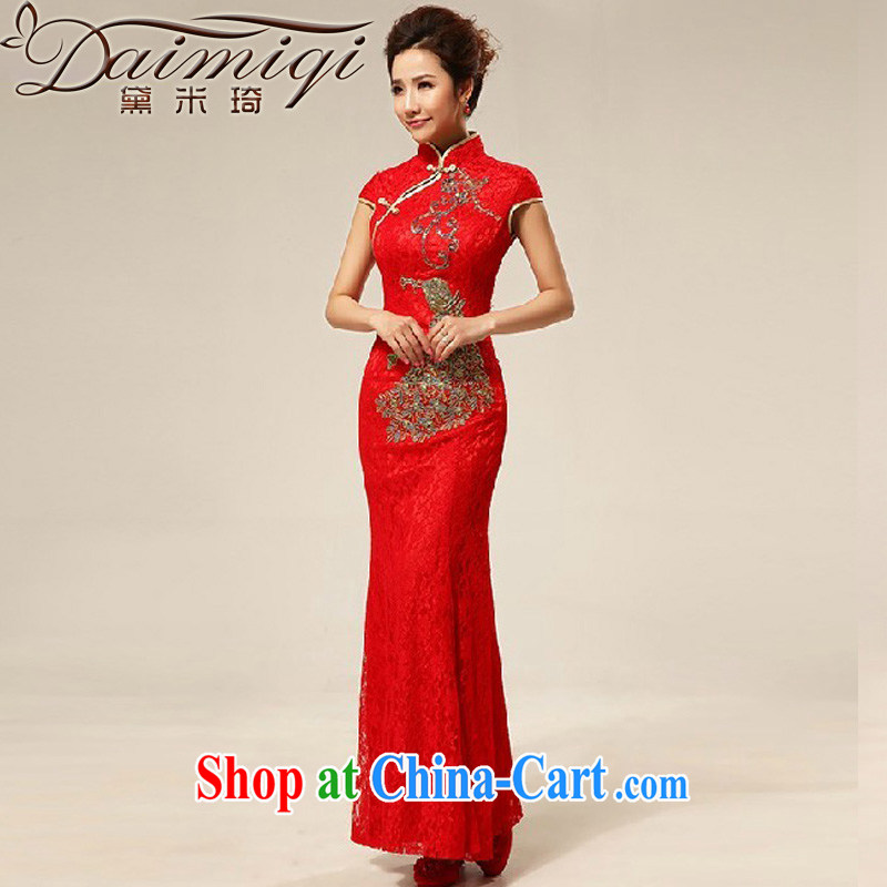 Diane M Qi red retro lace Chinese improved marriages bows dresses dresses wedding dresses bridal dresses with red XXL