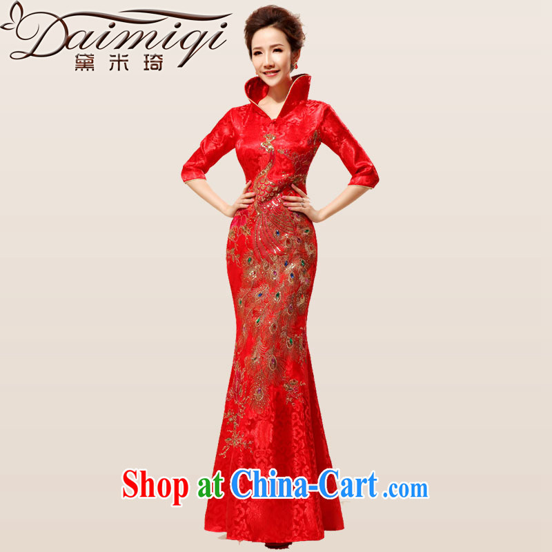 Diane M Qi 2014 New back door onto the collar dress etiquette macrame red bows with cheongsam dress red XXL
