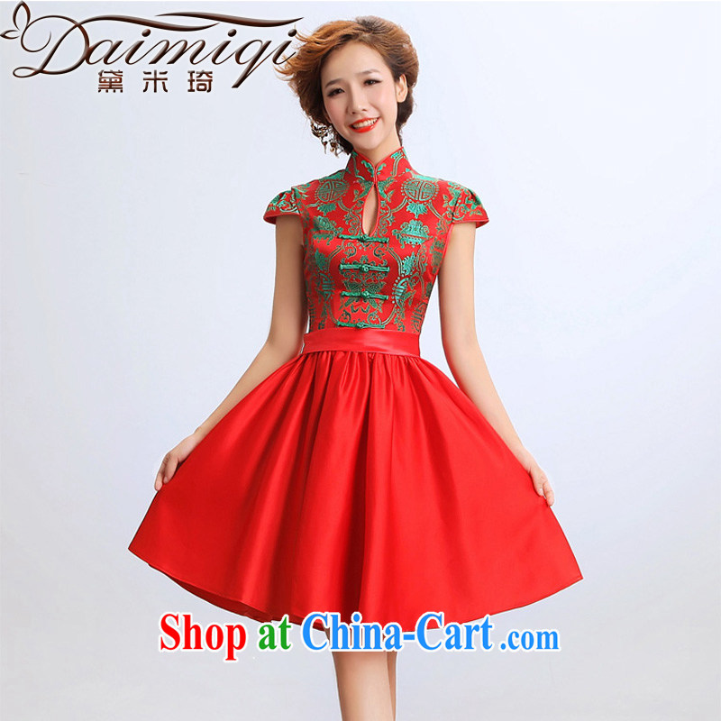 Diane M-kay 2014 new, modern dresses cheongsam dress improved short marriages wedding dresses red picture color XXL