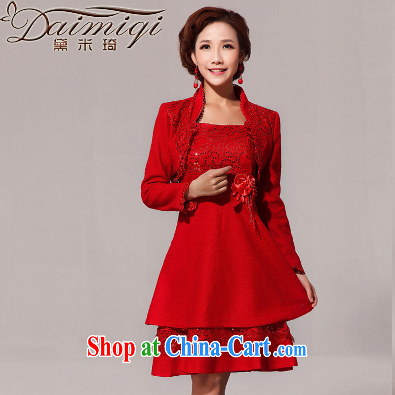 Diane M Qi 2014 New Fleece is a red jacket cheongsam back doors serving toast red XXL