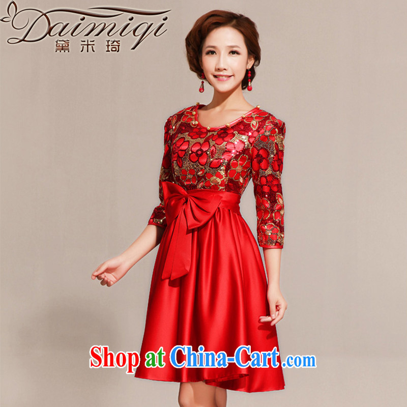 Diane M Qi spring 2014 spring wedding dress improved short cheongsam red bridal toast serving the door red XXL