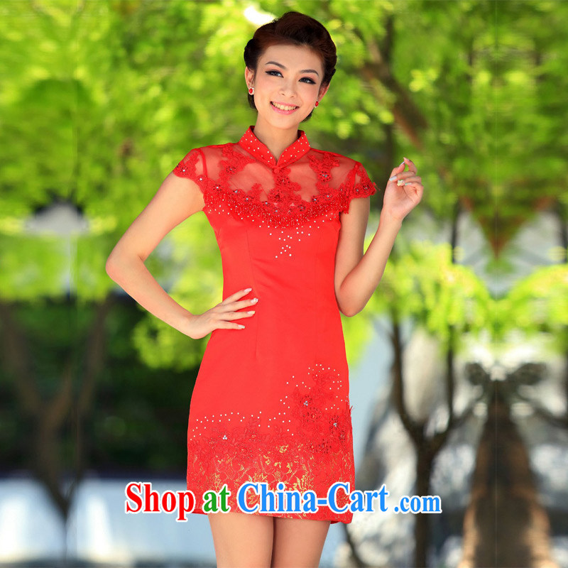 The bride's wedding dresses wedding dresses 2015 new summer uniforms toast short qipao 208 red L
