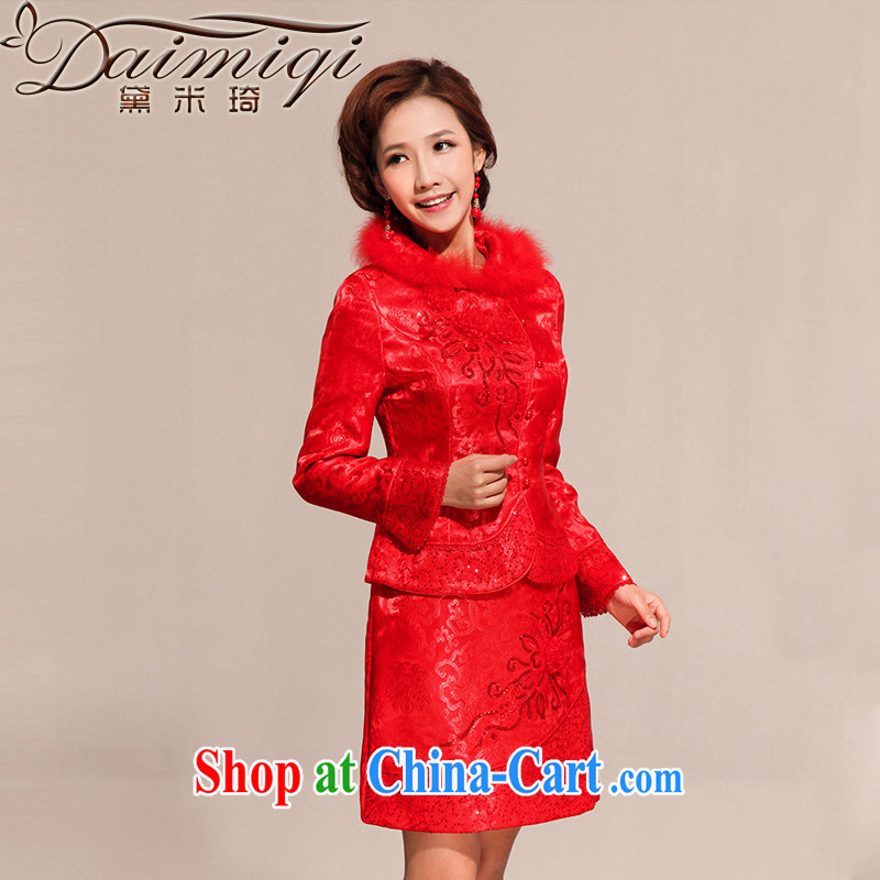 Diane M Ki wedding dresses new 2014 spring wedding dress dresses short festive bridal toast serving red XXL