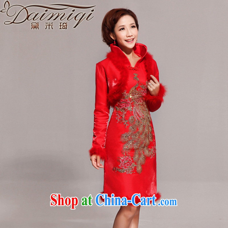 Diane M Qi 2014 New Year bridal Fung bathrobes hair collar dress uniform toasting red outfit jacket red L