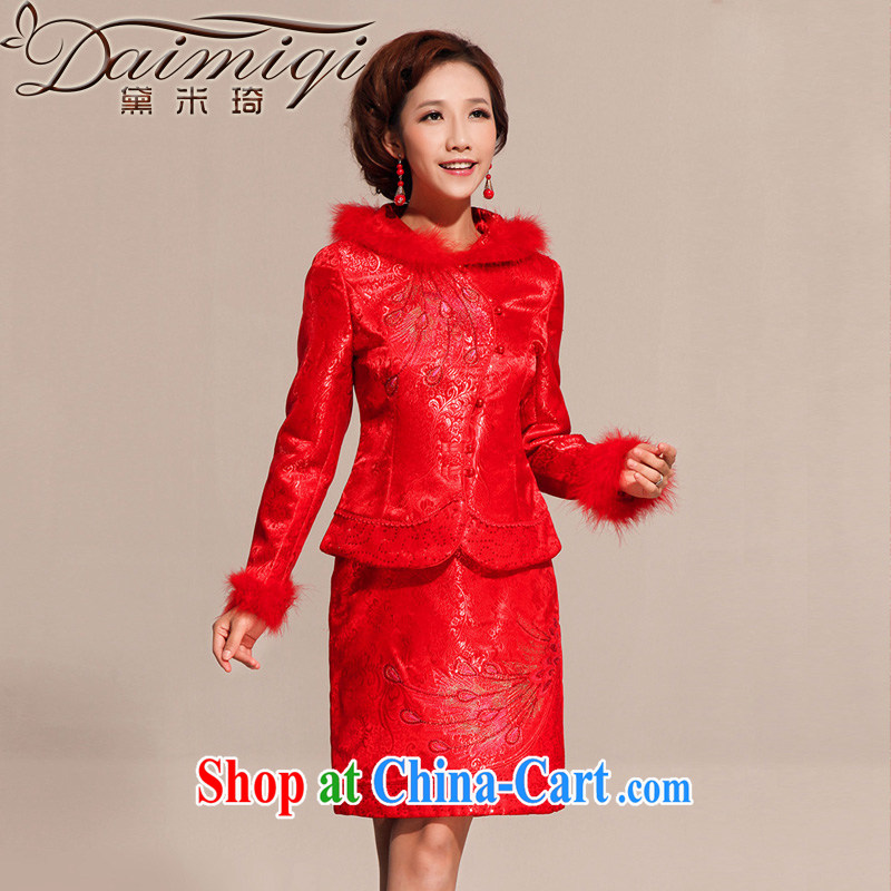 Diane M Ki winter wedding dress Kit dresses wedding dresses improved stylish dresses short fall and winter dresses red L