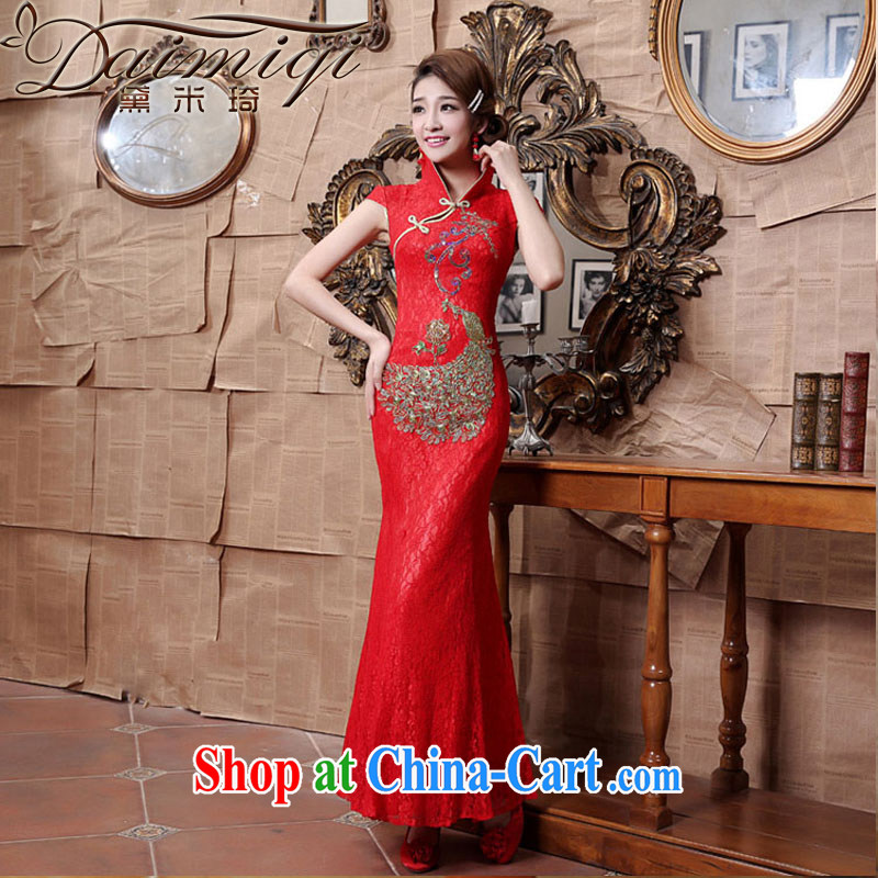 Diane M Ki wedding dresses dresses red lace-up for the lumbar crowsfoot cheongsam toast serving red XXL