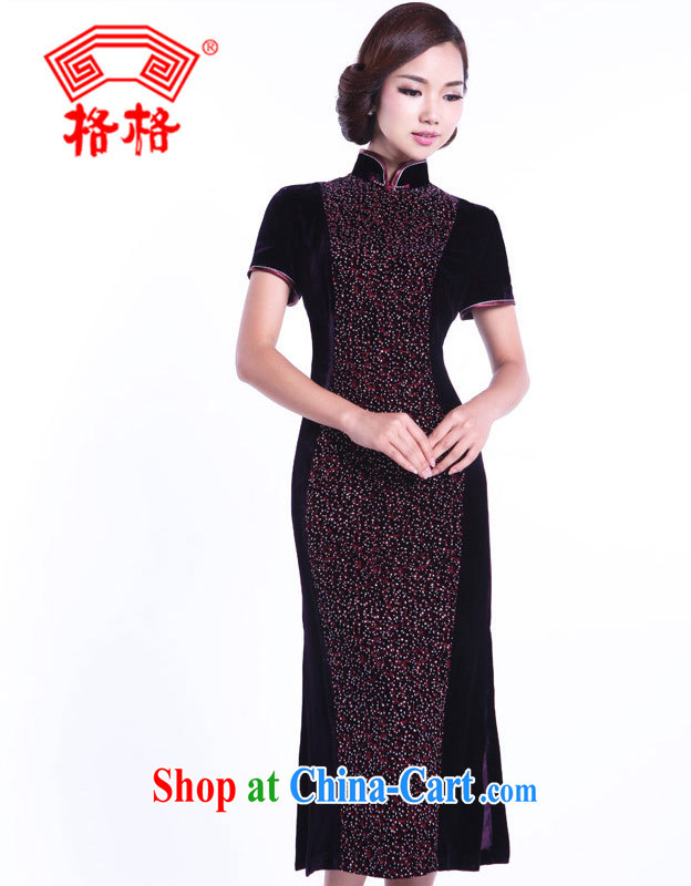Princess autumn 2013 the New Silk Velvet hot stitching half sleeve cheongsam 0220027137 purple 7 XL