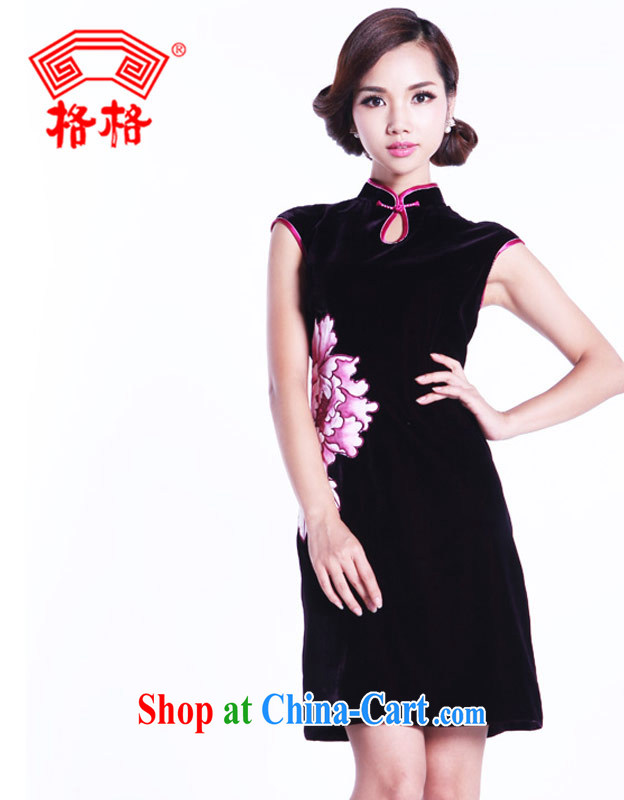 Huan Zhu Ge Ge 2014 New Silk Velvet embroidered hand painted Peony short cheongsam 2.220009 billion purple 5 XL