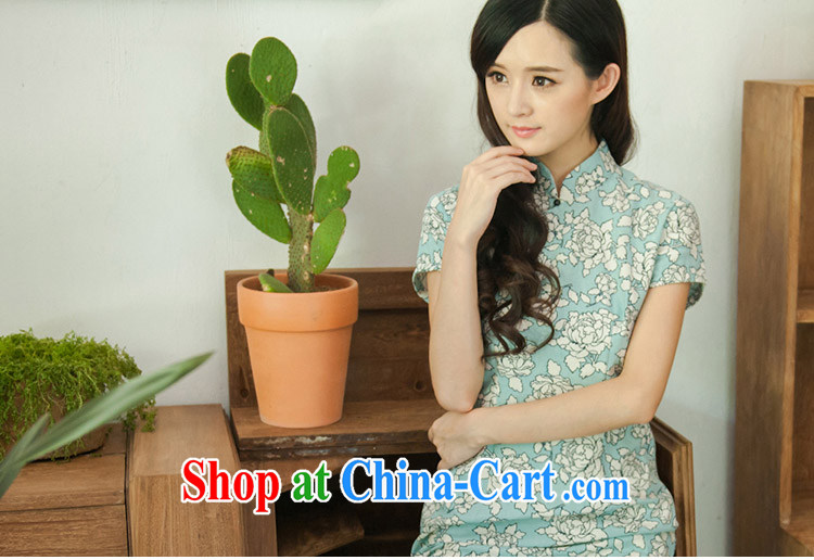 The proverbial hero once and for all as soon as possible, the new Stylish retro improved cheongsam linen long cheongsam dress suit 2 XL