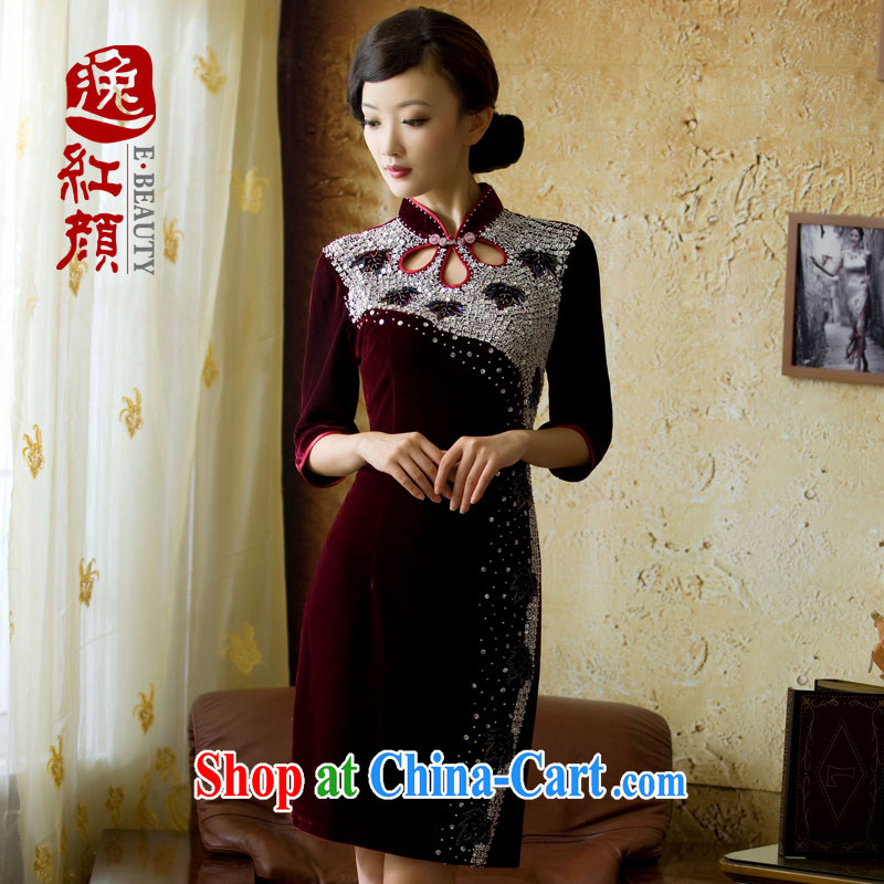 once and for all and elections as soon as possible fatally jealous Feng Lin night long-sleeved retro upscale gold velour cheongsam autumn in new sleeves, dresses skirts purple 2 XL