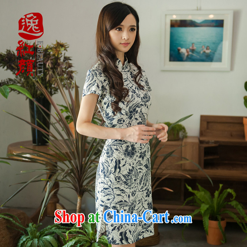 The proverbial hero once and for all -- Ja, summer 2015 new stylish retro improved cheongsam linen short cheongsam dress suit 2 XL