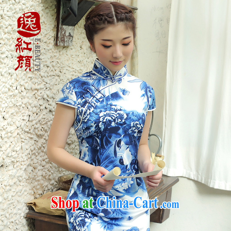 The proverbial hero once and for all -- Summer 2015 Hong Kong Summer, ladies stylish Silk Cheongsam improved beauty dress blue and white porcelain Chinese qipao skirt blue 2 XL