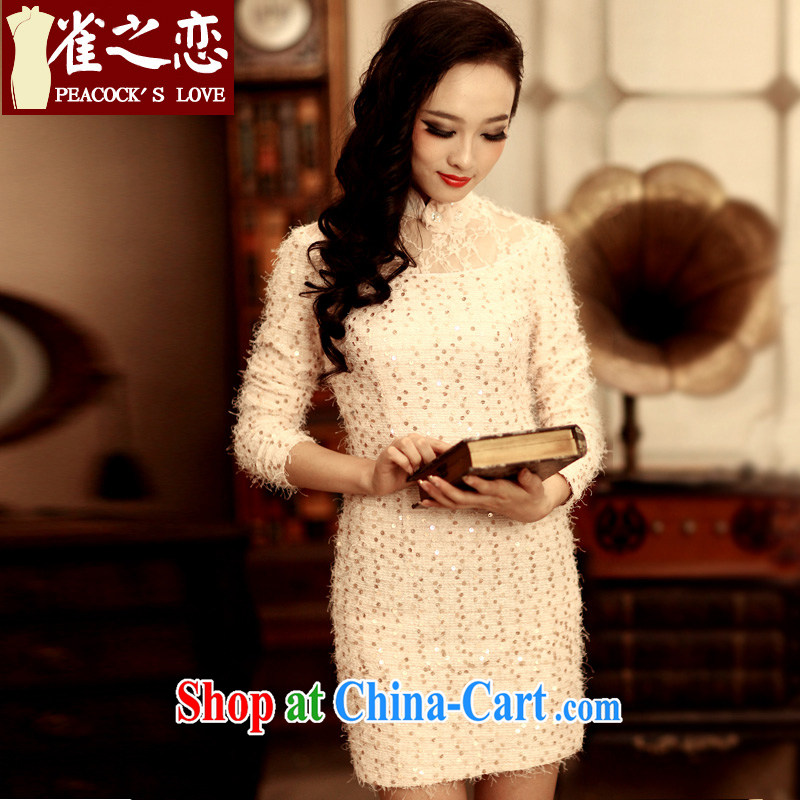 Bird lovers of dependent dependent slim beauty 2015 spring new retro cheongsam dress elegant and stylish improved cheongsam as XXXL