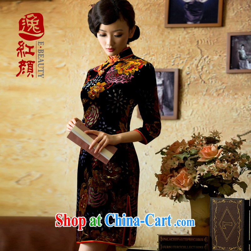 The proverbial hero once and for all -- love in high cuff Silk Velvet cheongsam improved Autumn with retro autumn and winter short orange 2 XL