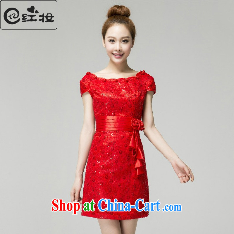 Recall that the red makeup spring and summer dresses summer pack shoulder short red cheongsam improved stylish lace bows Q serving 13,651 red XL