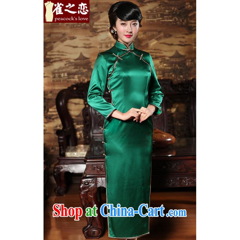 Bird lovers of Cayman Chu 2015 spring 9 cuff solid-colored long Silk Cheongsam QC 371 green XXL