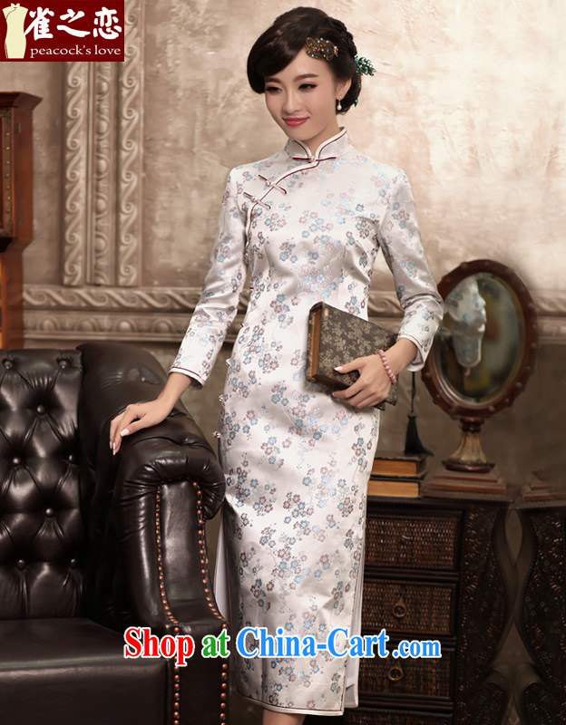 Birds love the colorful spring 2015 the new paragraph 9 cuff silk brocade coverlets daily long cheongsam dress female figure XL