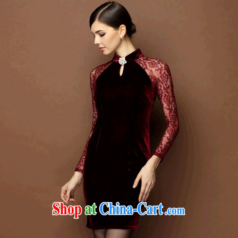 Optimize 100, 2014 the Code women load fall winter clothing new middle-aged round-collar dress velvet cheongsam dress dress wedding with winter beauty style stitching OL red XL