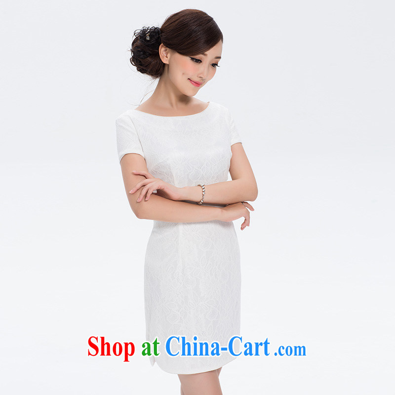 The proverbial hero once and for all -- dance and thick composite lace autumn new dresses, skirts and stylish improved cheongsam short white S