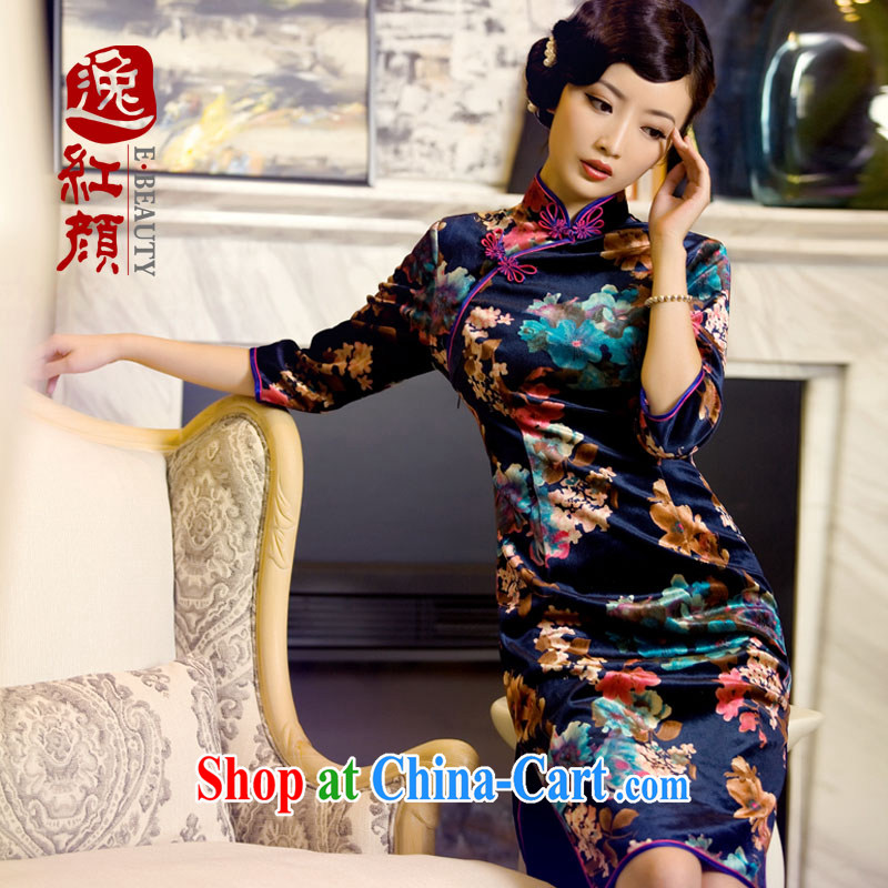 The proverbial hero once and for all as soon as possible take twin 2015 new autumn lint-free cloth with the long-sleeved dresses new dress stylish retro autumn cuff in cheongsam dress blue 2 XL
