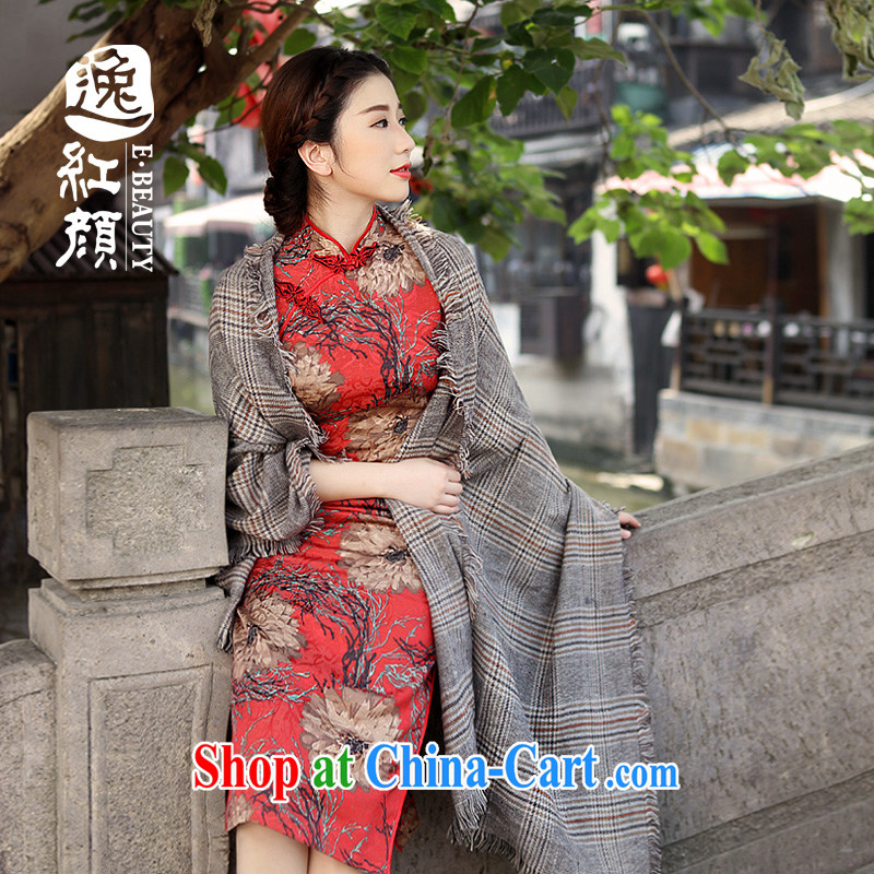 The proverbial hero once and for all -- maple flowers and dresses new 2015 spring and summer improved retro autumn and winter long long cheongsam dress suit XL