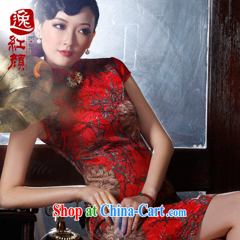 The proverbial hero once and for all -- maple flowers and improved Stylish retro Korea short cheongsam new cheongsam dress red 2 XL