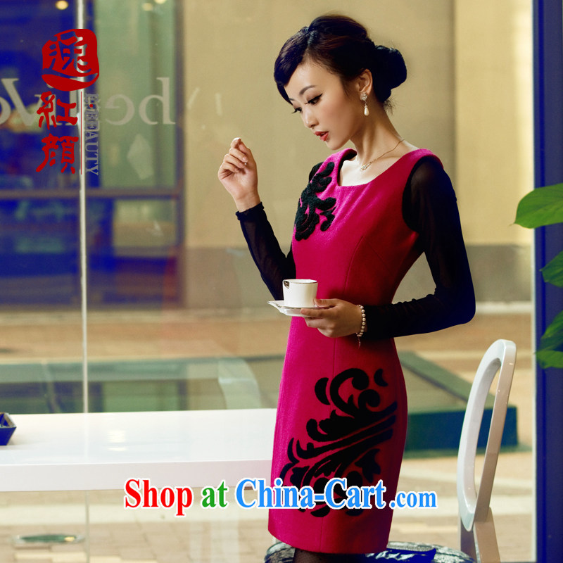 The proverbial hero once and for all so as soon as possible a lint-free cloth wool dresses fall with new stylish and improved short fall and winter cheongsam dress pink 2 XL