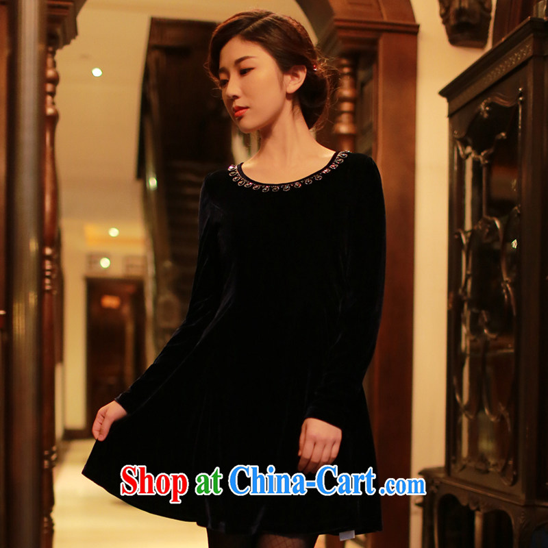 once and for all elections as soon as possible fatally jealous Roman Holiday long-sleeved standard gold velour outfit with autumn autumn and winter retro improved short cheongsam dress black M